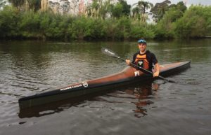 Tim Taylor Paddling his new carbon kevlar F1