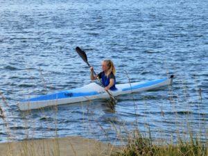 Carla Reid paddling her Ruahine Firebolt