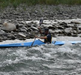 Dave Jaggs paddling the F1 during the 2017 Rangitikei Race